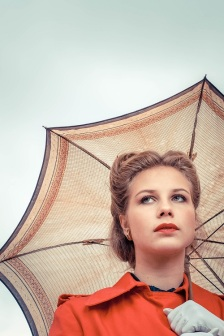 red raincoat
