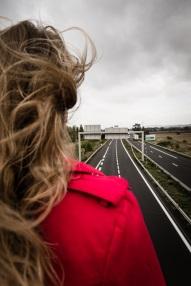 woman near highway